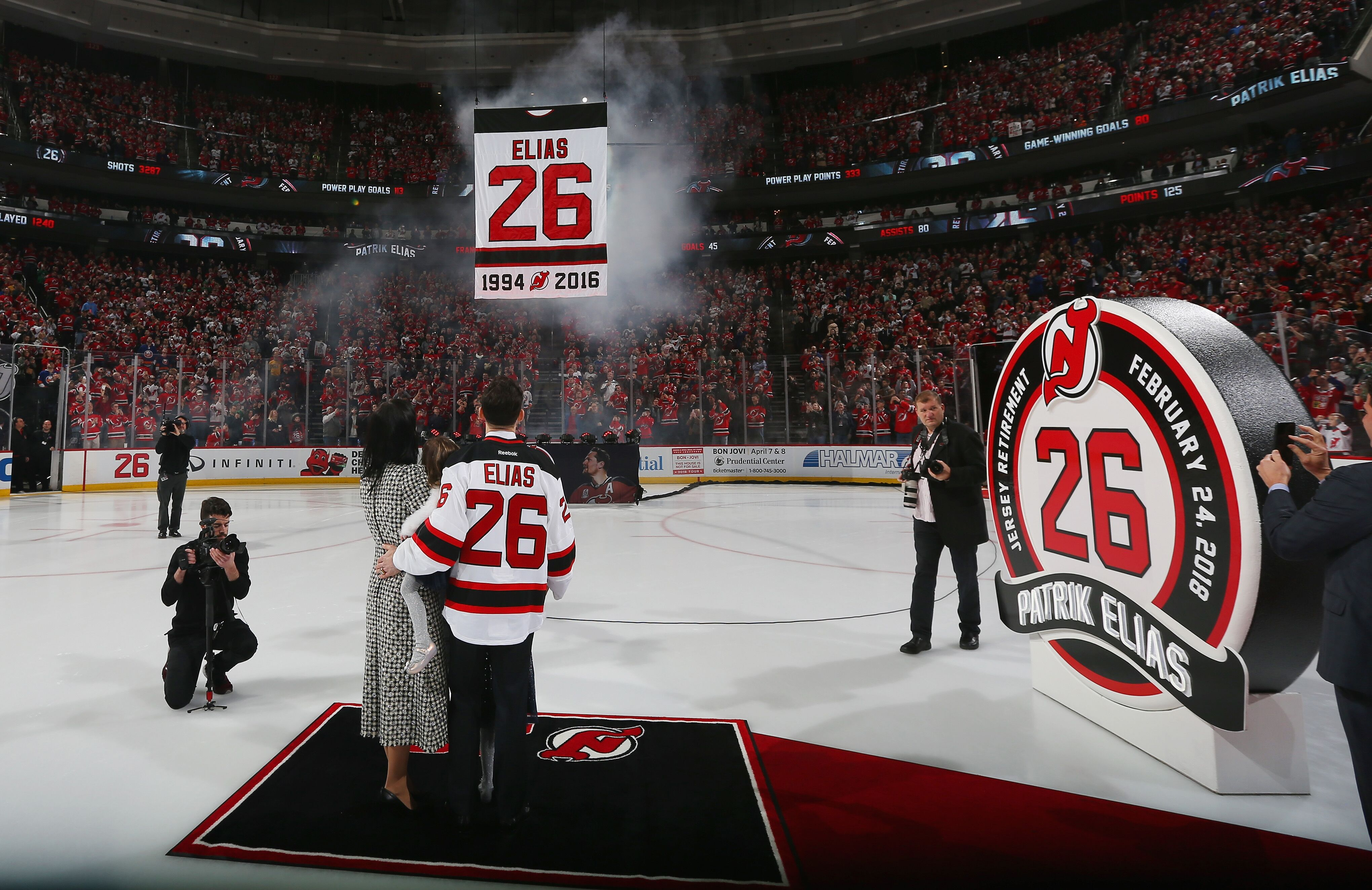 low priced 62df6 beae3 Patrik Elias honored with New Jersey Devils jersey retirement