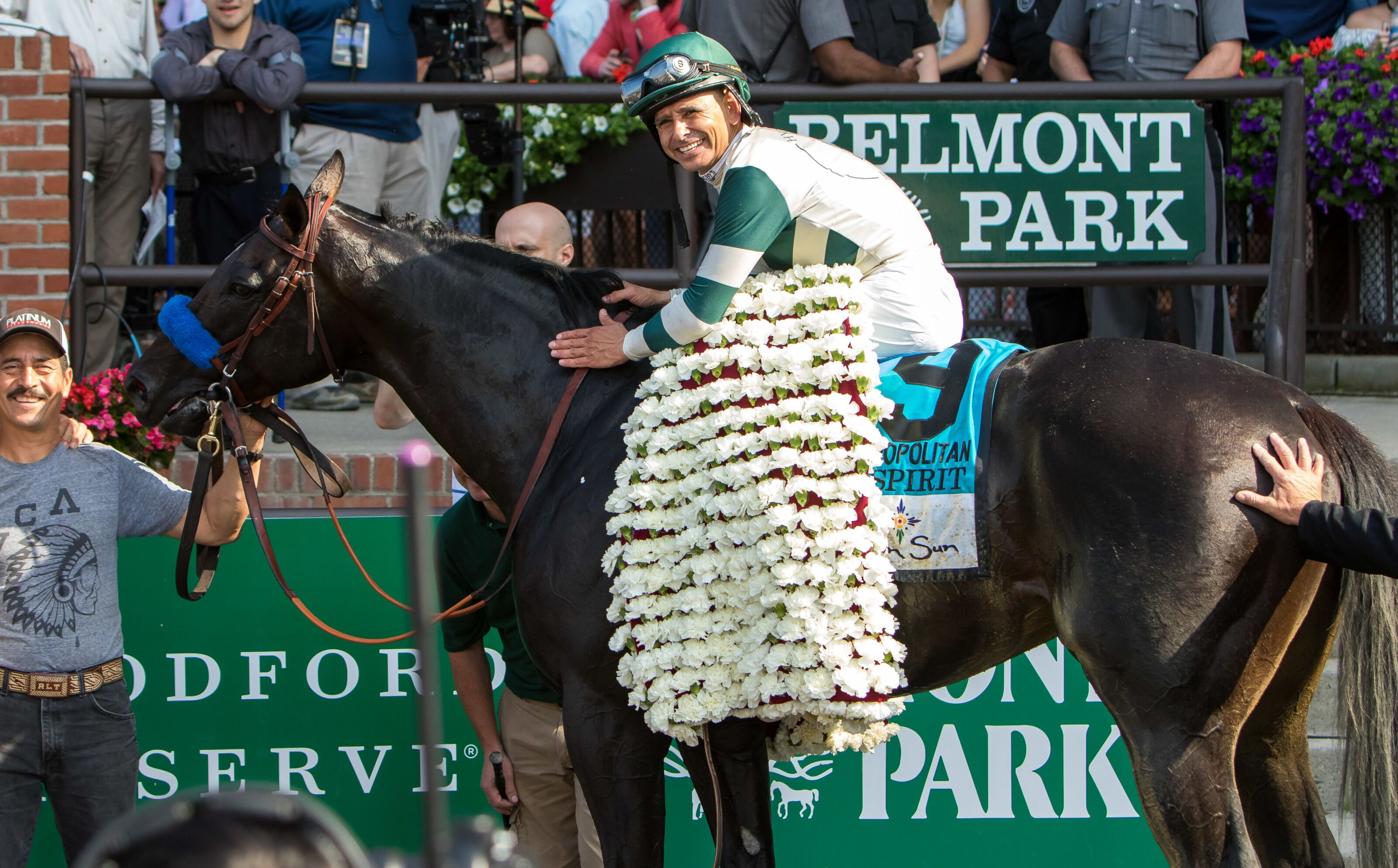 Image result for white carnations belmont stakes