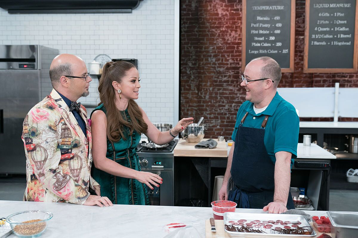 Judges Jason Smith and Marcela Valladolid with Contestant Jean-Francois Suteau during the Master Challenge, Marjolaine, Magnificent Meringue, as seen on Best Baker in America, Season 2. photo provided by Food Network