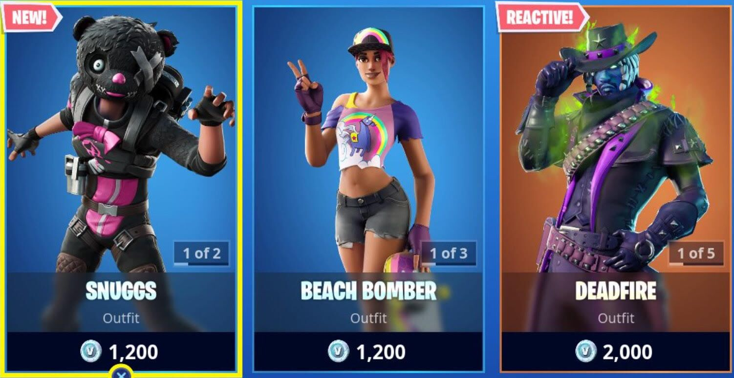 Fortnite: Today's Item Shop Featuring Deadfire and Snuggs 10/19/19