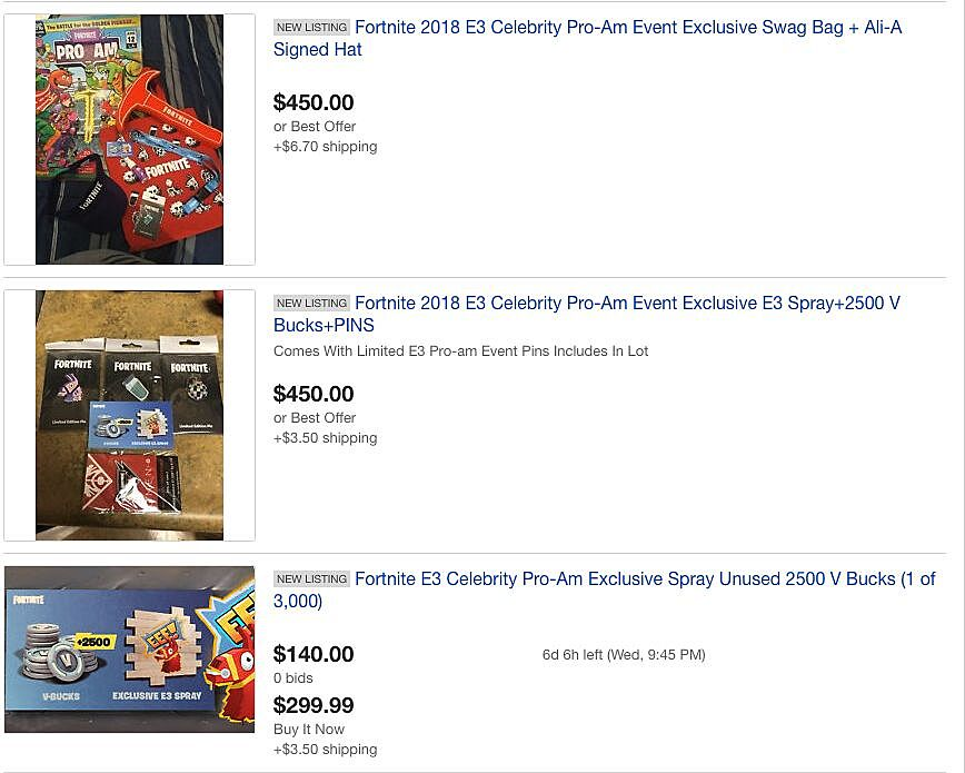 Exclusive Fortnite Giveaways From E3 Are Going For Big Money On Ebay
