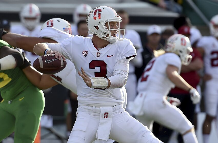 66713f0cacac EUGENE, OR - SEPTEMBER 22: Quarterback K.J. Costello (3) of the Stanford