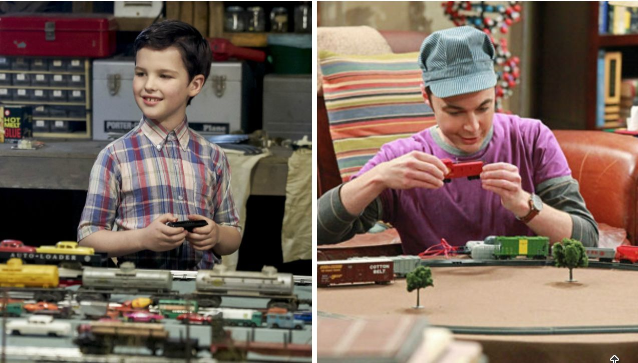Image result for sheldon playing with trains