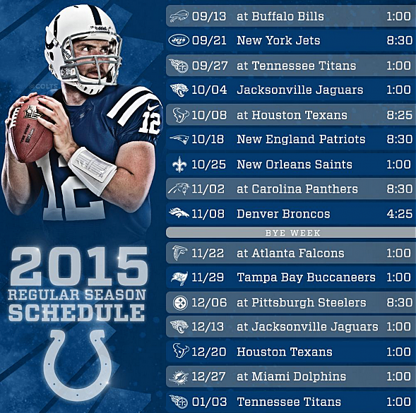 indianapolis colts 2015 schedule revealed