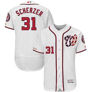 49220dc1f Max Scherzer Washington Nationals Majestic Alternate Authentic Collection Flex  Base Player Jersey – White