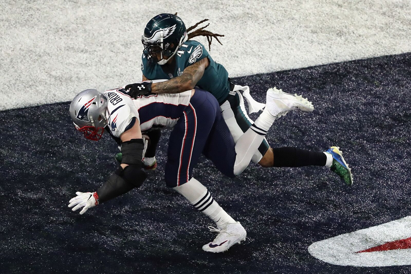 db27591b069e7b ... MN – FEBRUARY 04: Rob Gronkowski #87 of the New England Patriots makes  a 4-yard touchdown reception against Ronald Darby #41 of the Philadelphia  Eagles ...