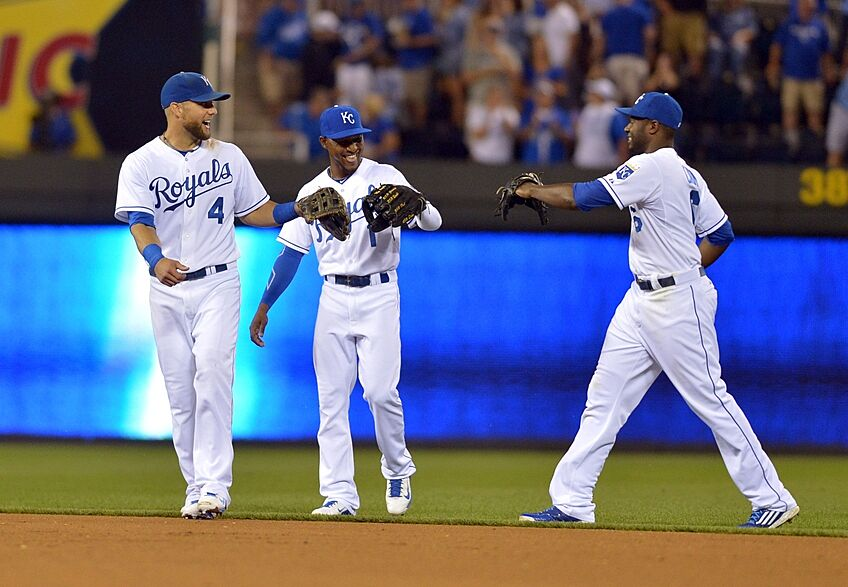 Aug 13 2017 Kansas City Mo Usa Royals Left Fielder Alex Gordon 4 Center Jarrod Dyson 1 And Lorenzo Cain 6