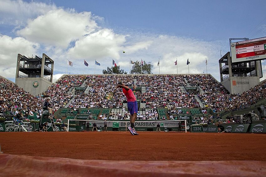 May 30, 2015; Paris, France; General view of Court Suzanne Lenglen as Nick Kyrgios (AUS) serves during his match against Andy Murray (GBR) on day seven at Roland Garros. Mandatory Credit: Susan Mullane-USA TODAY Sports