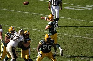 Aaron Rodgers Throws His First Pass Completion Against The New Orleans Saints On Oct 9