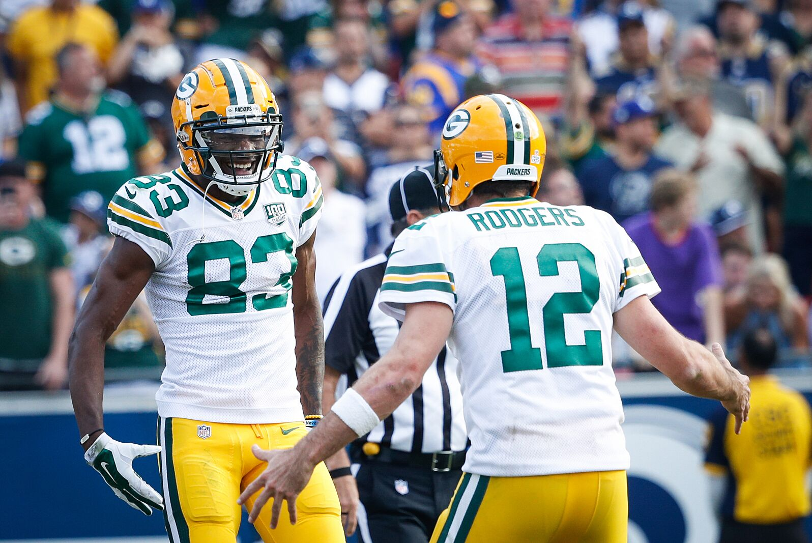 Green Bay Packers Aaron Rodgers Marquez Valdez Scantling
