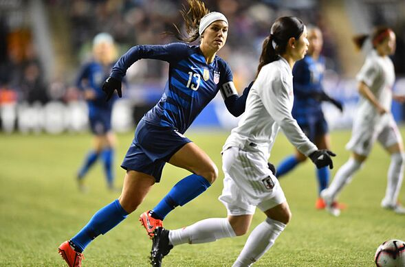 1d098c1ec85 CHESTER, PA – FEBRUARY 27: US Forward Alex Morgan (13) chases down the play  in the first half during the She Believes Cup game between Japan and the  United ...