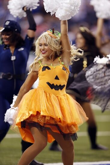 oct 30 2016 indianapolis in usa indianapolis colts cheerleader performs in a halloween costume during a game against the kansas city chiefs at lucas