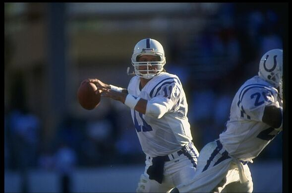 5440ffeb6 2 Dec 1990: Quarterback Jeff George of the Indianapolis Colts looks to pass  the ball during a game against the Phoenix Cardinals at the RCA Dome in ...