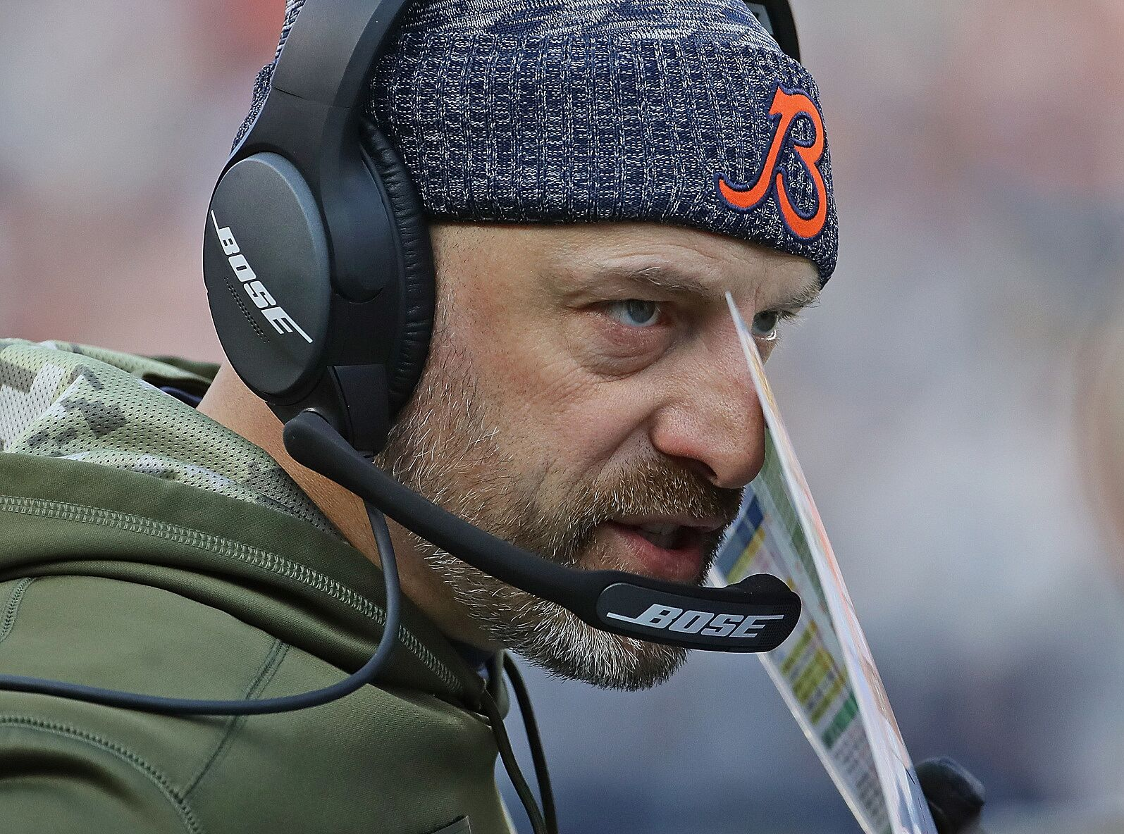 f1d44f93f CHICAGO, IL – NOVEMBER 11: Head coach Matt Nagy of the Chicago Bears talks  on the headphones during a game against the Detroit Lions at Soldier Field  on ...