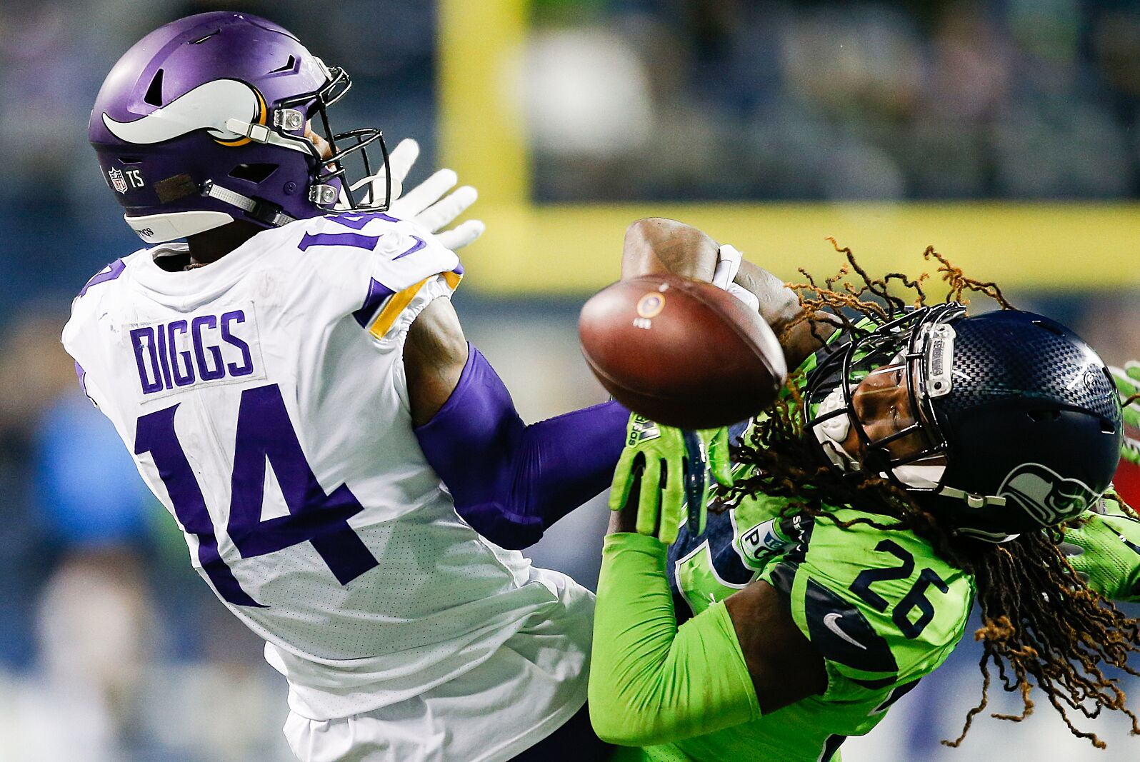 044a5a322 SEATTLE, WA – DECEMBER 10: Shaquill Griffin #26 of the Seattle Seahawks  breaks up a catch by Stefon Diggs #14 of the Minnesota Vikings in the  fourth quarter ...