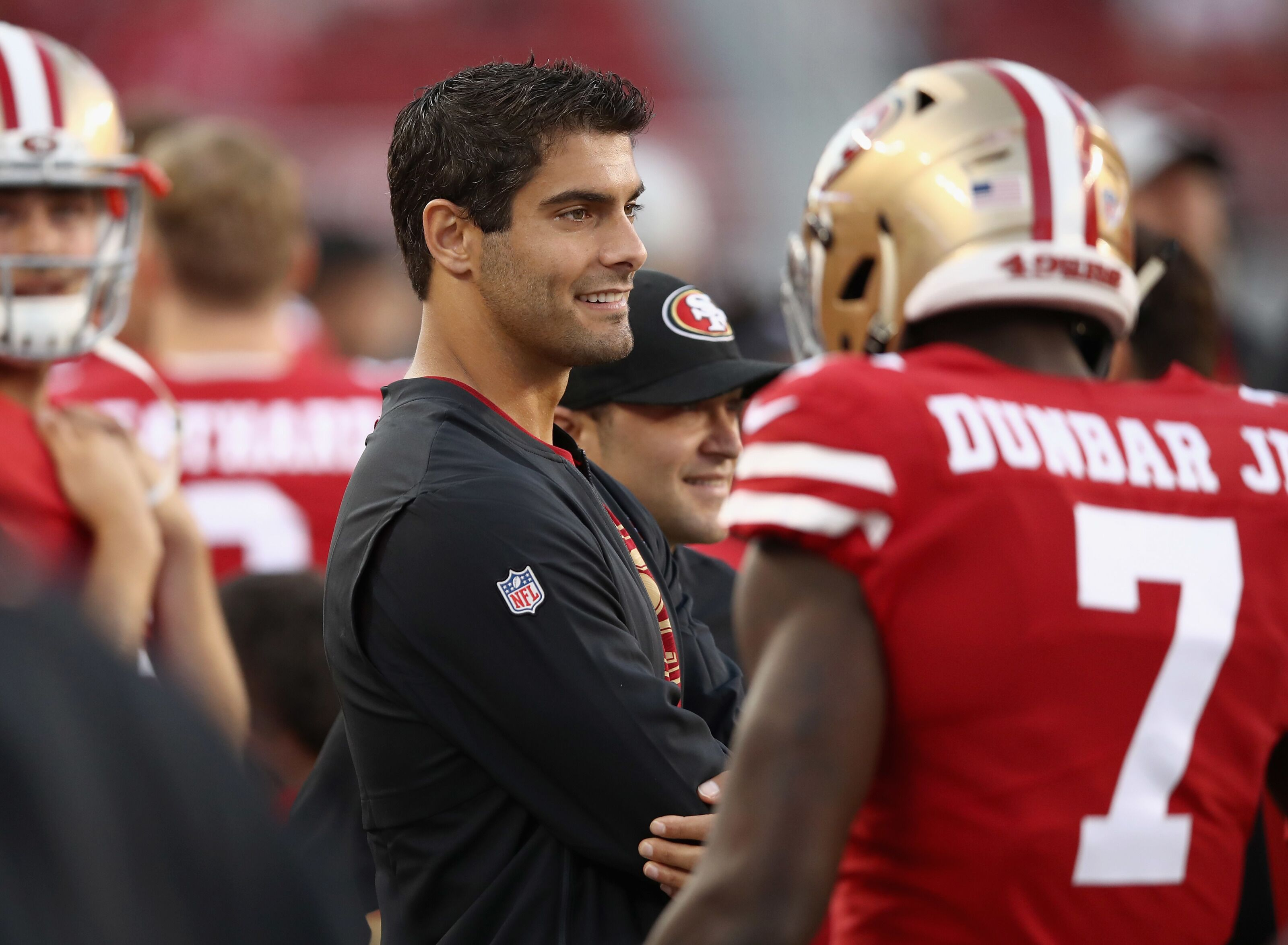 49ers' Jimmy Garoppolo on Deebo Samuel: 'He's just so explosive and fast'