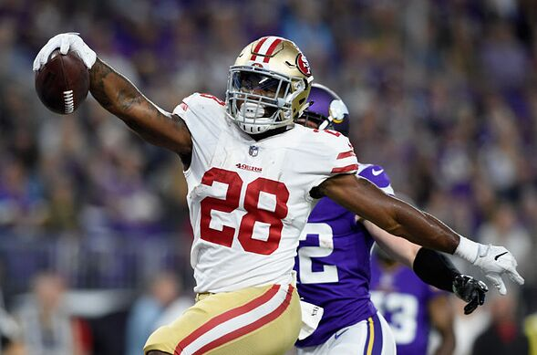 Minneapolis Mn August 27 Carlos Hyde 28 Of The San Francisco 49ers Runs Ball In For A Touchdown Against Minnesota Vikings During Second