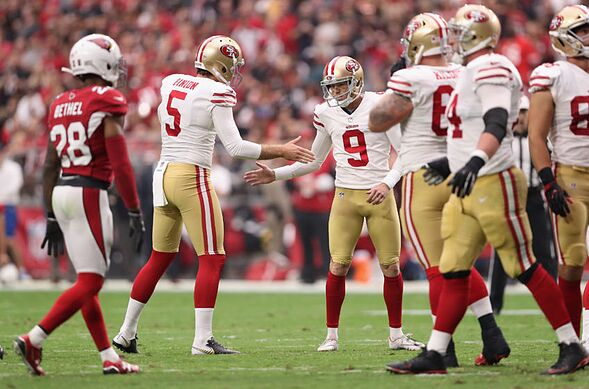 Glendale Az October 01 Kicker Robbie Gould 9 Of The San Francisco 49ers Reacts With Punter Bradley Pinion 5 After Kicking A Second Quarter Field Goal