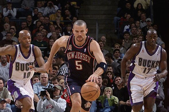1145af1a402 8 Dec 2001  Guard Jason Kidd  5 of the New Jersey Nets dribbling the ball  down the court during the NBA game against the Milwaukee Bucks at the  Bradley ...