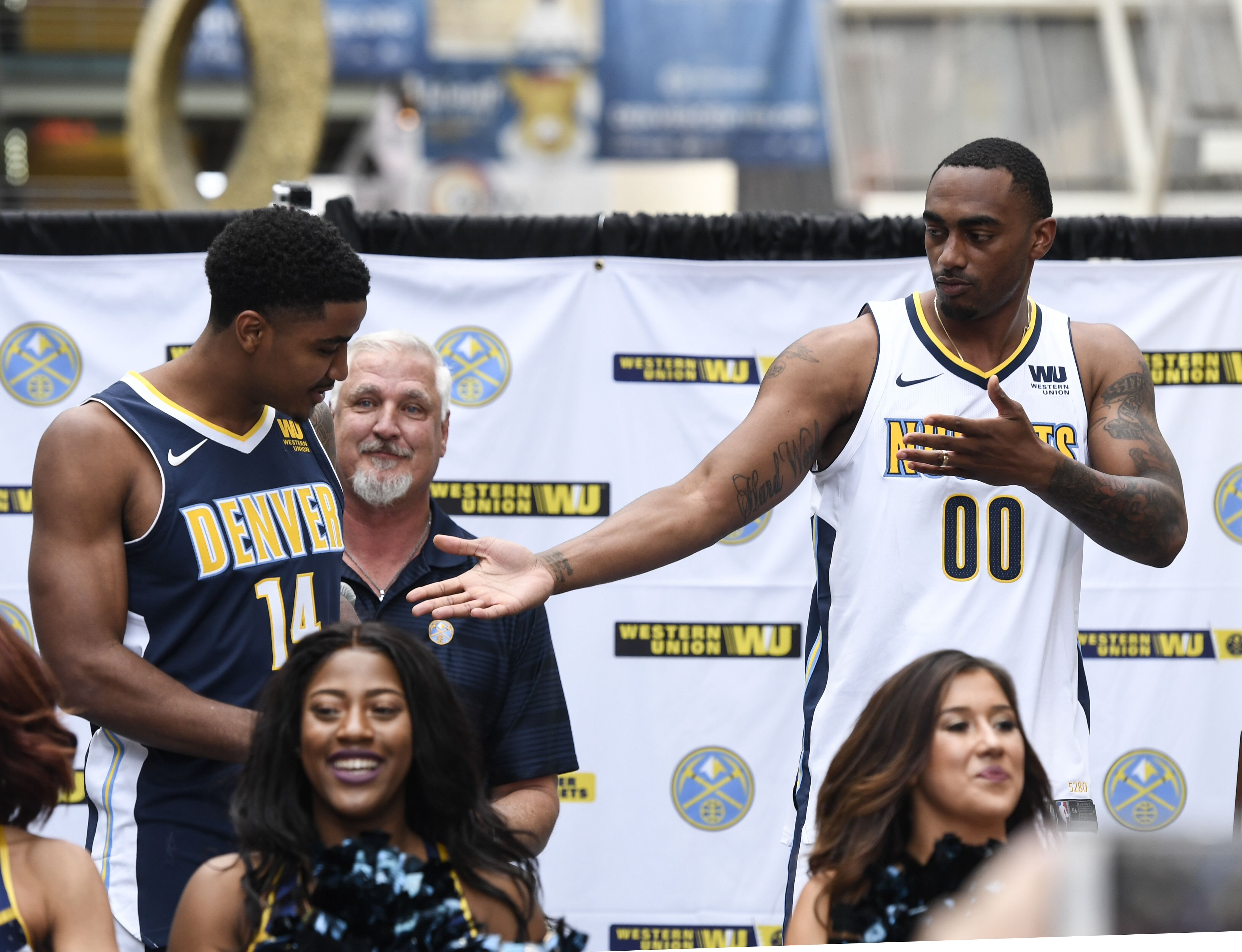 DENVER, CO - AUGUST 8: Denver Nuggets Gary Harris (14) and Darrell Arthur (00) unveil their new team jersey on August 8, 2017 during a pep rally in Denver, Colorado the DCPA. (Photo by John Leyba/The Denver Post via Getty Images)