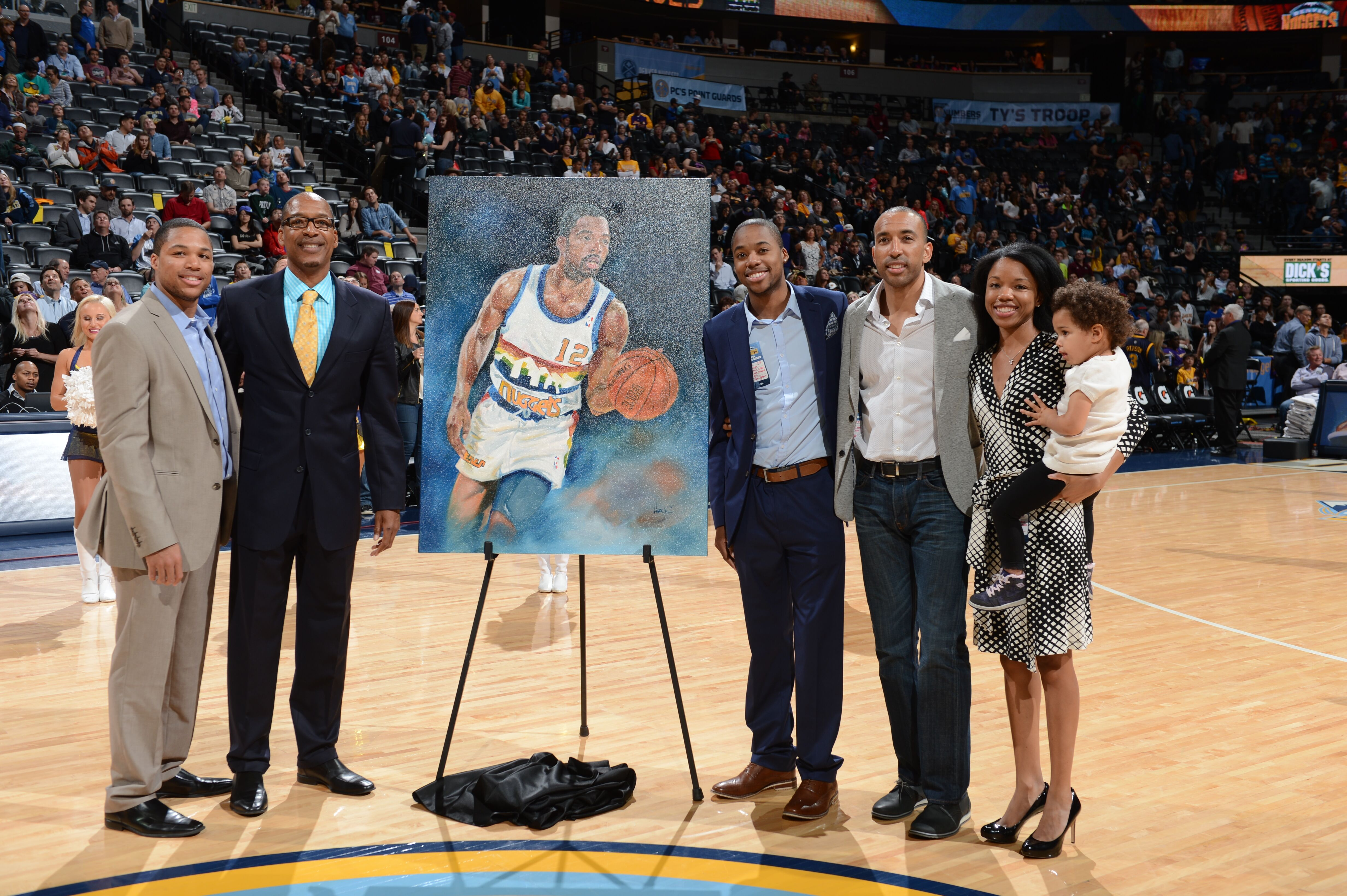DENVER, CO - APRIL 8: Former NBA player Lafayette 'Fat' Lever is honored at halftime during the game between the Denver Nuggets and the Los Angeles Lakers on April 8, 2015 at the Pepsi Center in Denver, Colorado. NOTE TO USER: User expressly acknowledges and agrees that, by downloading and or using this Photograph, user is consenting to the terms and conditions of the Getty Images License Agreement. Mandatory Copyright Notice: Copyright 2015 NBAE (Photo by Garrett Ellwood/NBAE via Getty Images)