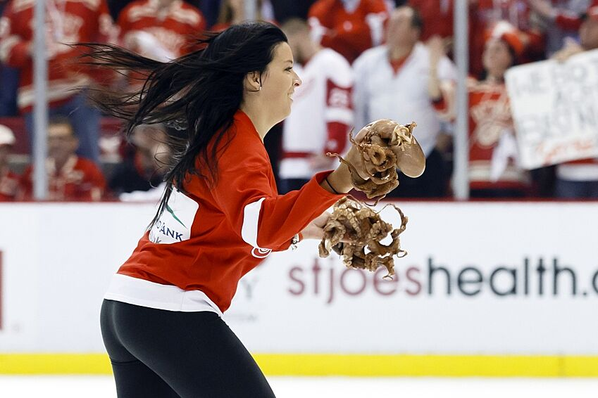 8 historical facts every detroit red wings fan should know page 4 apr 27 2015 detroit mi usa ice girl carry octopus off the ice during the second period of the game between the detroit red wings and the tampa bay voltagebd Gallery