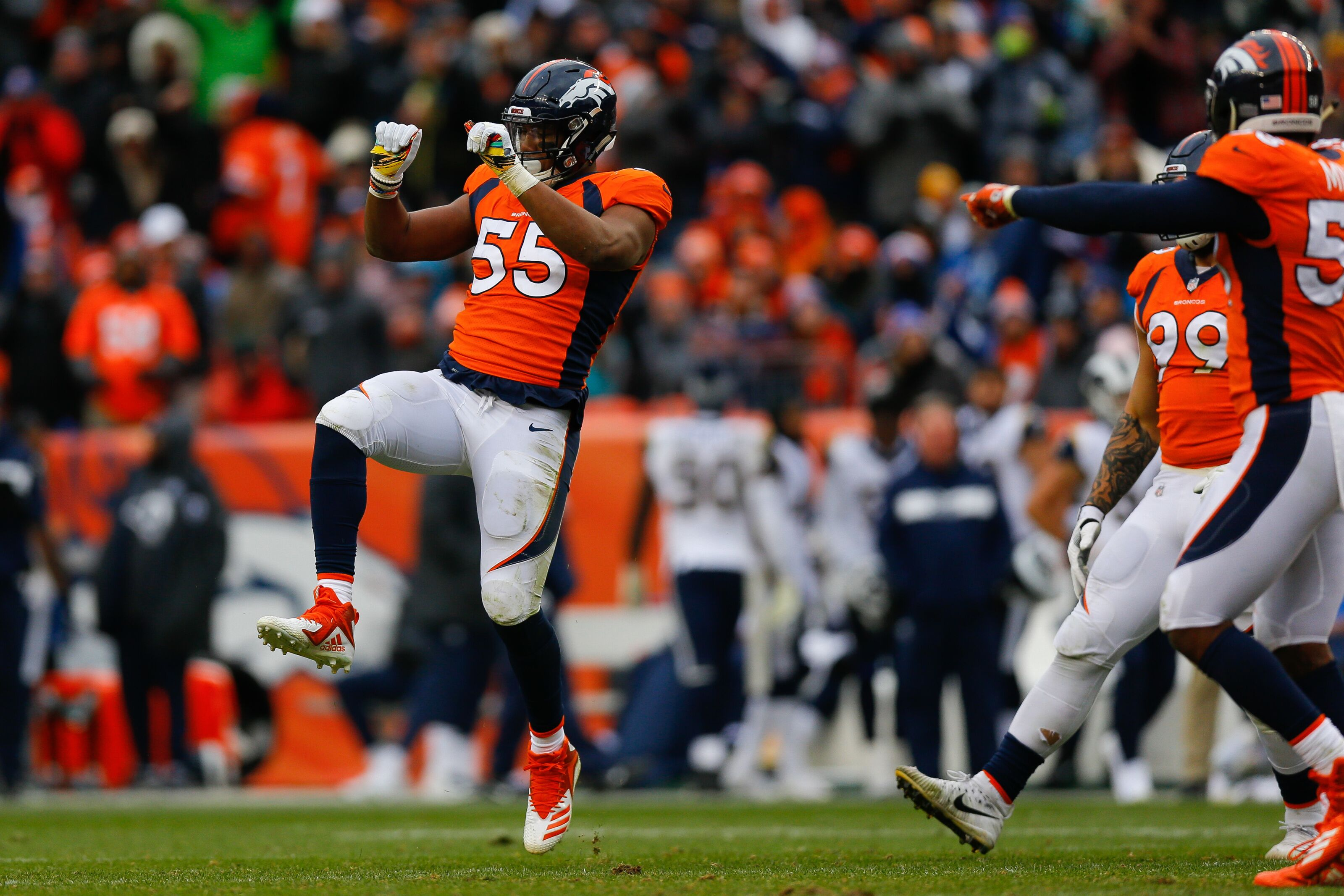 Denver Broncos: Bradley Chubb hunts Jared Goff in breakout game