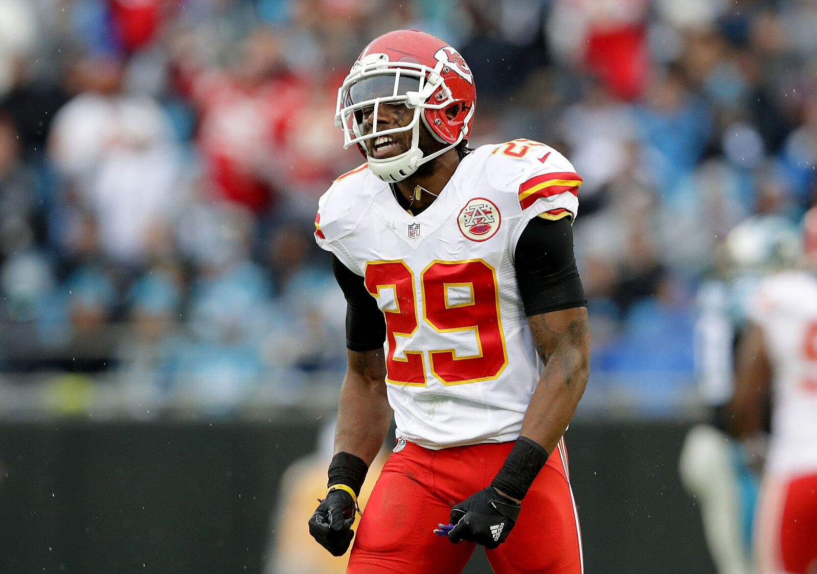 57adacdbd73 CHARLOTTE, NC – NOVEMBER 13: Eric Berry #29 of the Kansas City Chiefs  reacts after a play against the Carolina Panthers in the 1st quarter during  their game ...