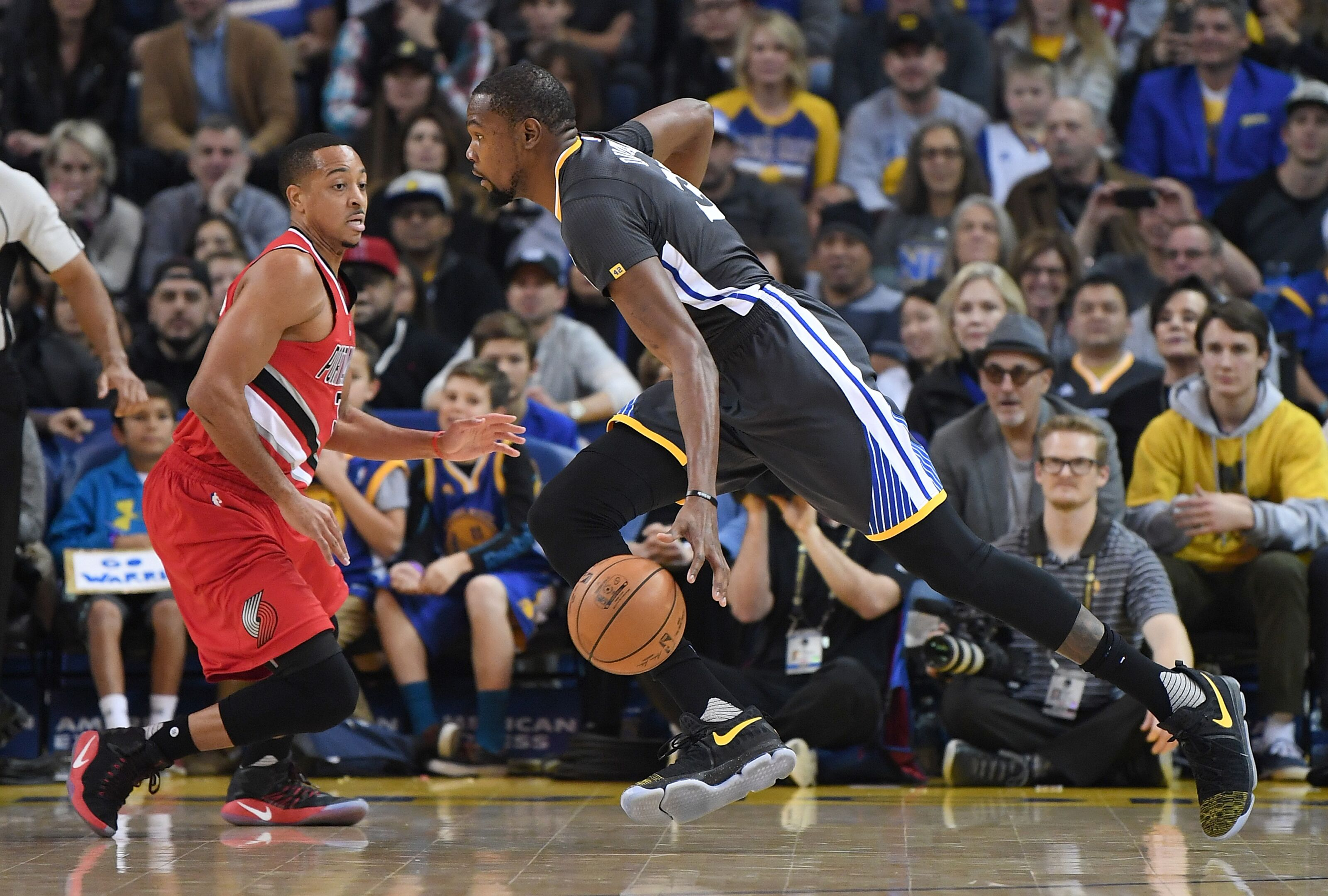 3c1a8ef63022 CJ McCollum battles Warriors fans on Twitter about Kevin Durant