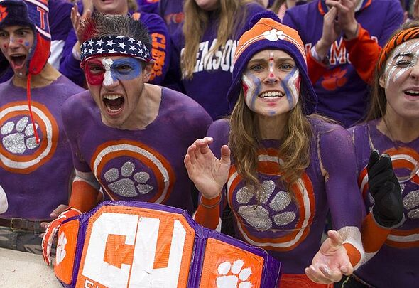 Nov 21, 2015; Clemson, SC, USA; Clemson Tigers fans cheer during the first quarter against the Wake Forest Demon Deacons at Clemson Memorial Stadium. Mandatory Credit: Joshua S. Kelly-USA TODAY Sports
