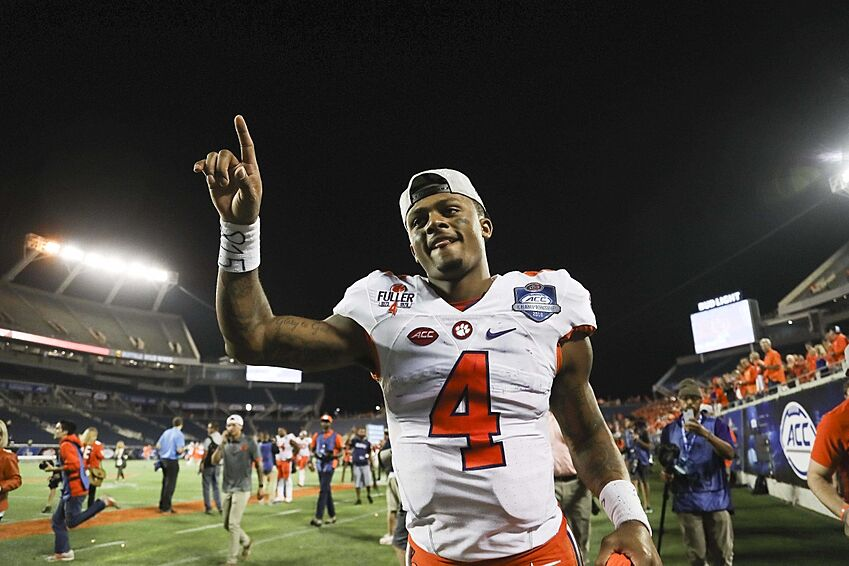 Dec 3, 2016; Orlando, FL, USA; Clemson Tigers quarterback Deshaun Watson (4) walks off the field after a game against the Virginia Tech Hokies during the ACC Championship college football game at Camping World Stadium. Clemson Tigers won 42-35. Mandatory Credit: Logan Bowles-USA TODAY Sports