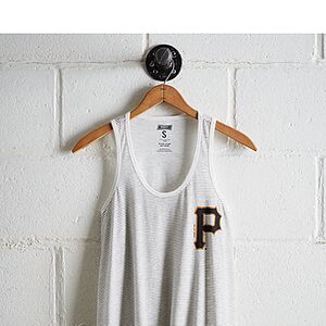 Tailgate Women's Pittsburgh Pirates Striped Scoop Neck Tank White M