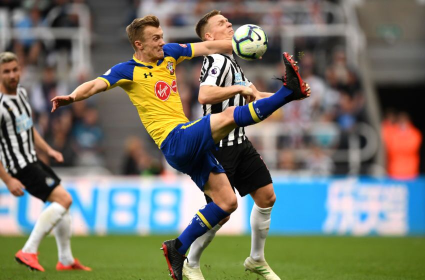 Newcastle Upon Tyne England April 20 Matt Ritchie Of Newcastle United Battles For Possession With James Ward Prowse Of Southampton During The Premier