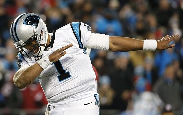 Jan 24, 2016; Charlotte, NC, USA; Carolina Panthers quarterback Cam Newton (1) dabs during the fourth quarter against the Arizona Cardinals in the NFC Championship football game at Bank of America Stadium. Mandatory Credit: Jason Getz-USA TODAY Sports