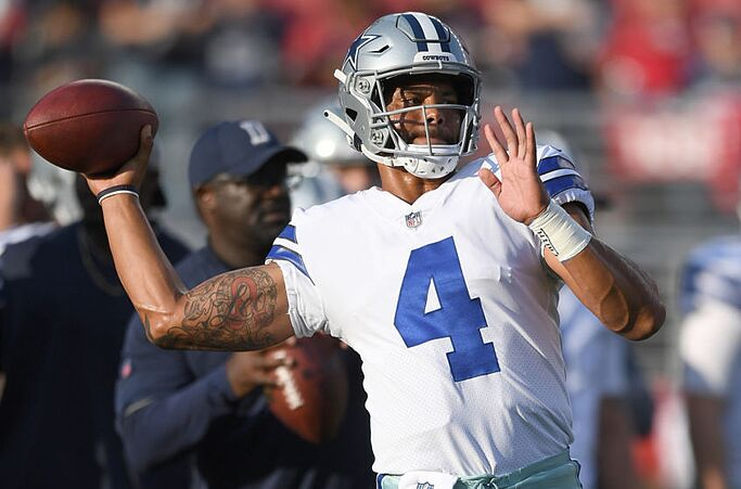 4918f7bb3 SANTA CLARA, CA – AUGUST 09: Dak Prescott #4 of the Dallas Cowboys warms up  prior to the start of an NFL preseason game against the San Francisco 49ers  at ...