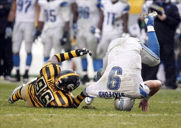 Ziggy Hood, Matthew Stafford, Steelers vs Lions