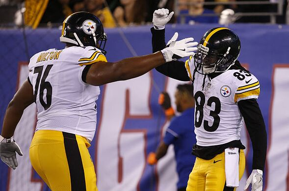dd0af7045 EAST RUTHERFORD, NJ – AUGUST 11: Cobi Hamilton #83 of the Pittsburgh  Steelers celebrates his second quarter touchdown catch with teammate Keavon  Milton #76 ...