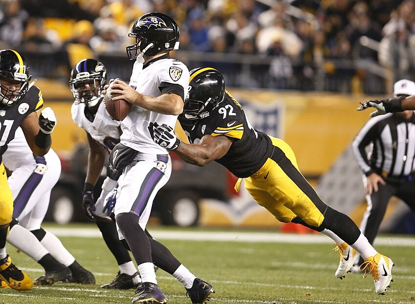 a8dfb78842f Nov 2, 2014; Pittsburgh, PA, USA; Pittsburgh Steelers linebacker James  Harrison (92) sacks Baltimore Ravens quarterback Joe Flacco (5) during the  first ...