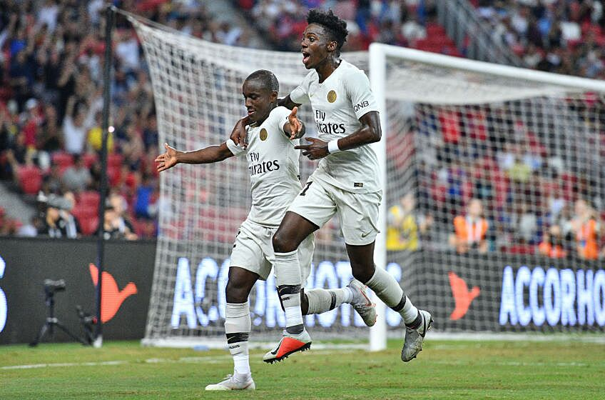 f041c6a88 SINGAPORE – JULY 30  Moussa Diaby and team mate Timothy Weah of Paris Saint  Germain celebrates his goal during the International Champions Cup match  between ...