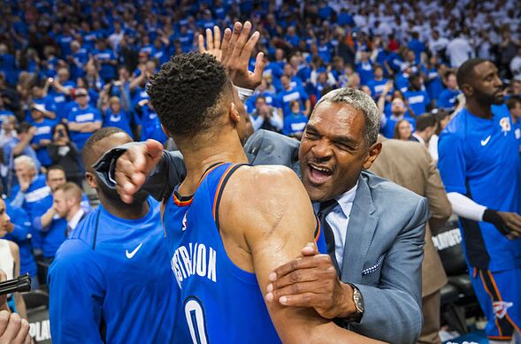 bfd55a7b OKLAHOMA CITY, OK – APRIL 25: Russell Westbrook #0 and Maurice Cheeks of  the Oklahoma City Thunder celebrate on court after Game Five against the Utah  Jazz ...