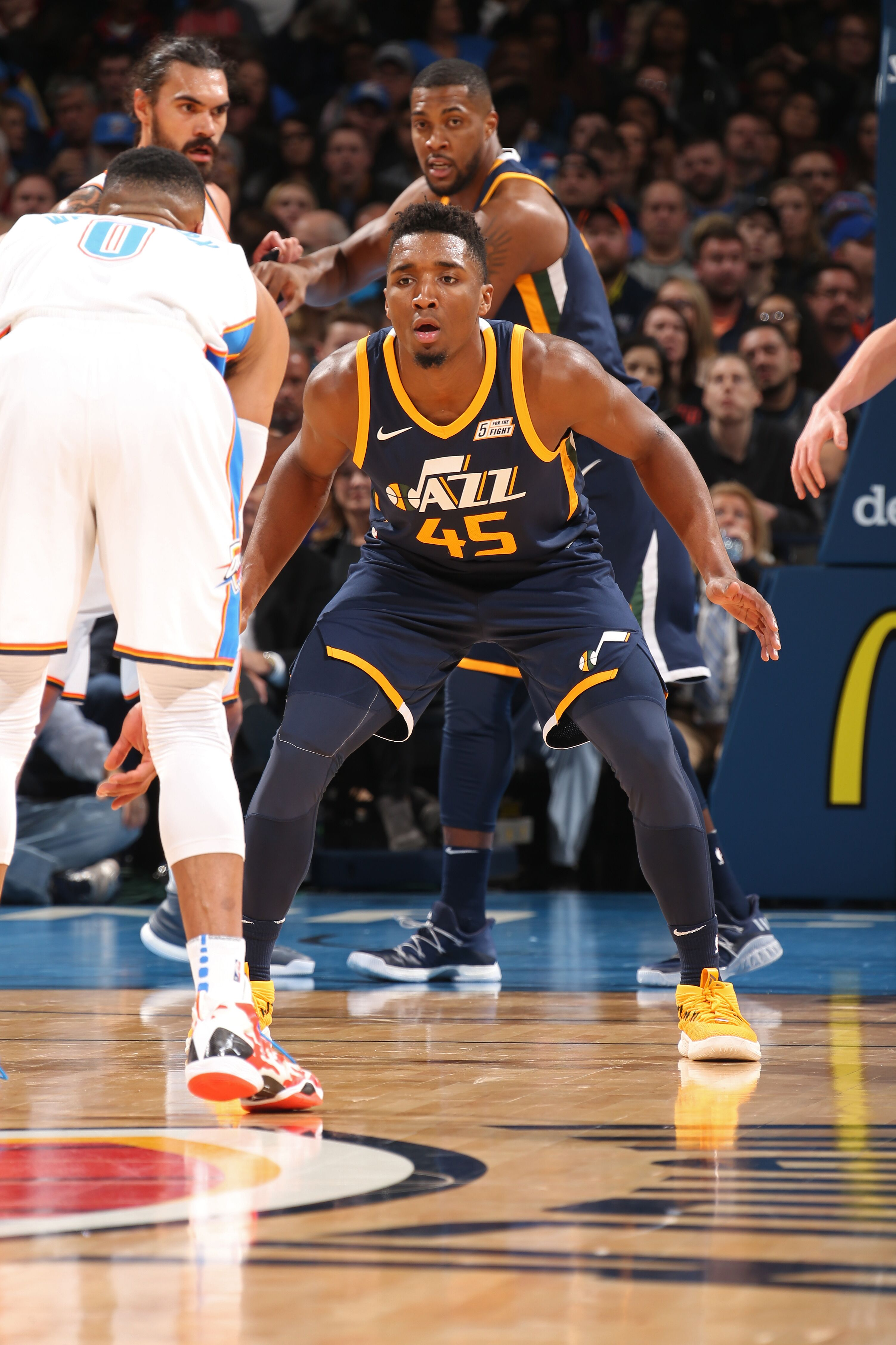 1f6068f44df ... fashion 7bdd8 bac5d Utah Jazz Donovan Mitchell and Russell Westbrook  duke it out ...