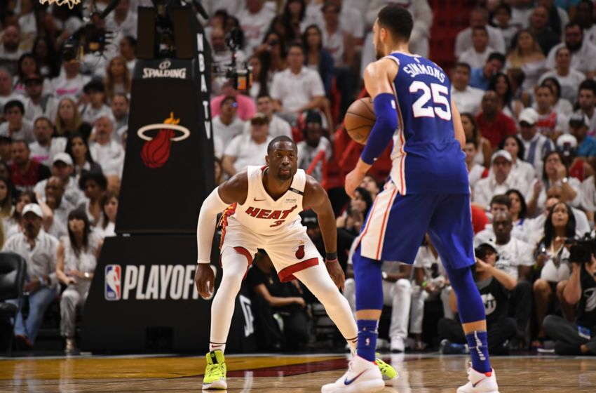 save off 8d6cf 7c7f2 MIAMI, FL %26 8211  APRIL 21  Dwyane Wade  3 of the Miami Heat looks to  defend against Ben Simmons  25 of the Philadelphia 76ers in the third  quarter during ...