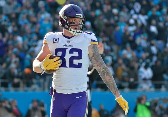 CHARLOTTE, NC - DECEMBER 10: Kyle Rudolph #82 of the Minnesota Vikings reacts after a touchdown against the Carolina Panthers in the first quarter during their game at Bank of America Stadium on December 10, 2017 in Charlotte, North Carolina. (Photo by Grant Halverson/Getty Images)