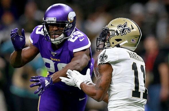 NEW ORLEANS, LOUISIANA - JANUARY 05: Deonte Harris #11 of the New Orleans Saints makes a catch over Xavier Rhodes #29 of the Minnesota Vikings in the NFC Wild Card Playoff game at Mercedes Benz Superdome on January 05, 2020 in New Orleans, Louisiana. (Photo by Sean Gardner/Getty Images)