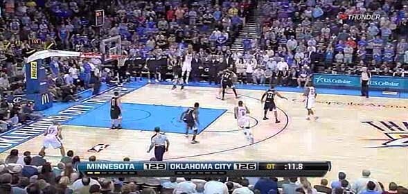 d673599f7983 Thunder Playbook  KD hits the three to send T-Wolves game into ...