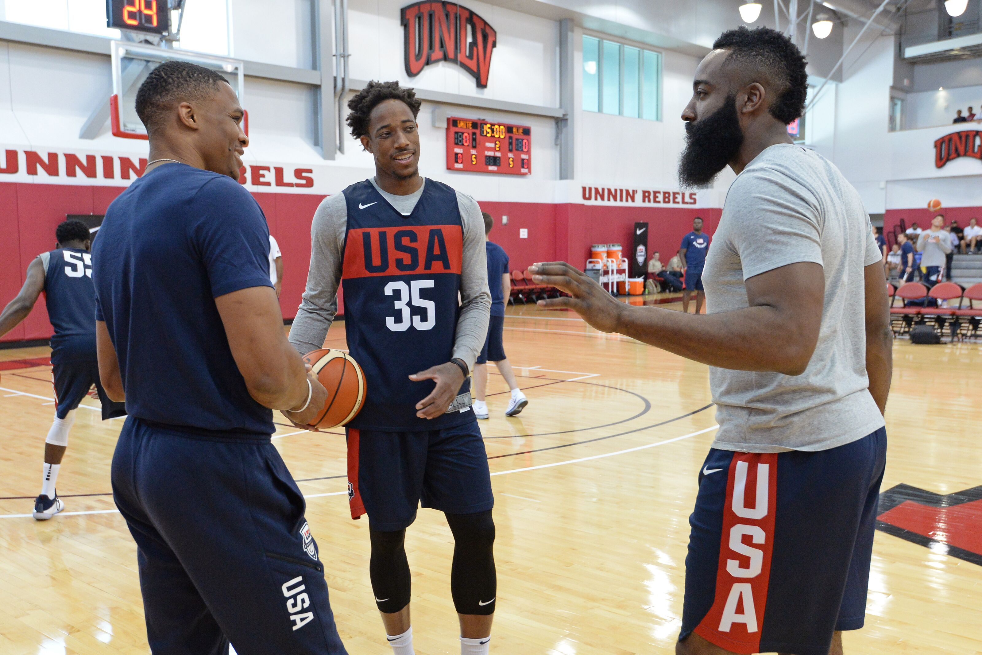 44ee0763b247 Original OK3 interact at USA mini camp as Westbrook imitates Harden and  gets in KD tiff