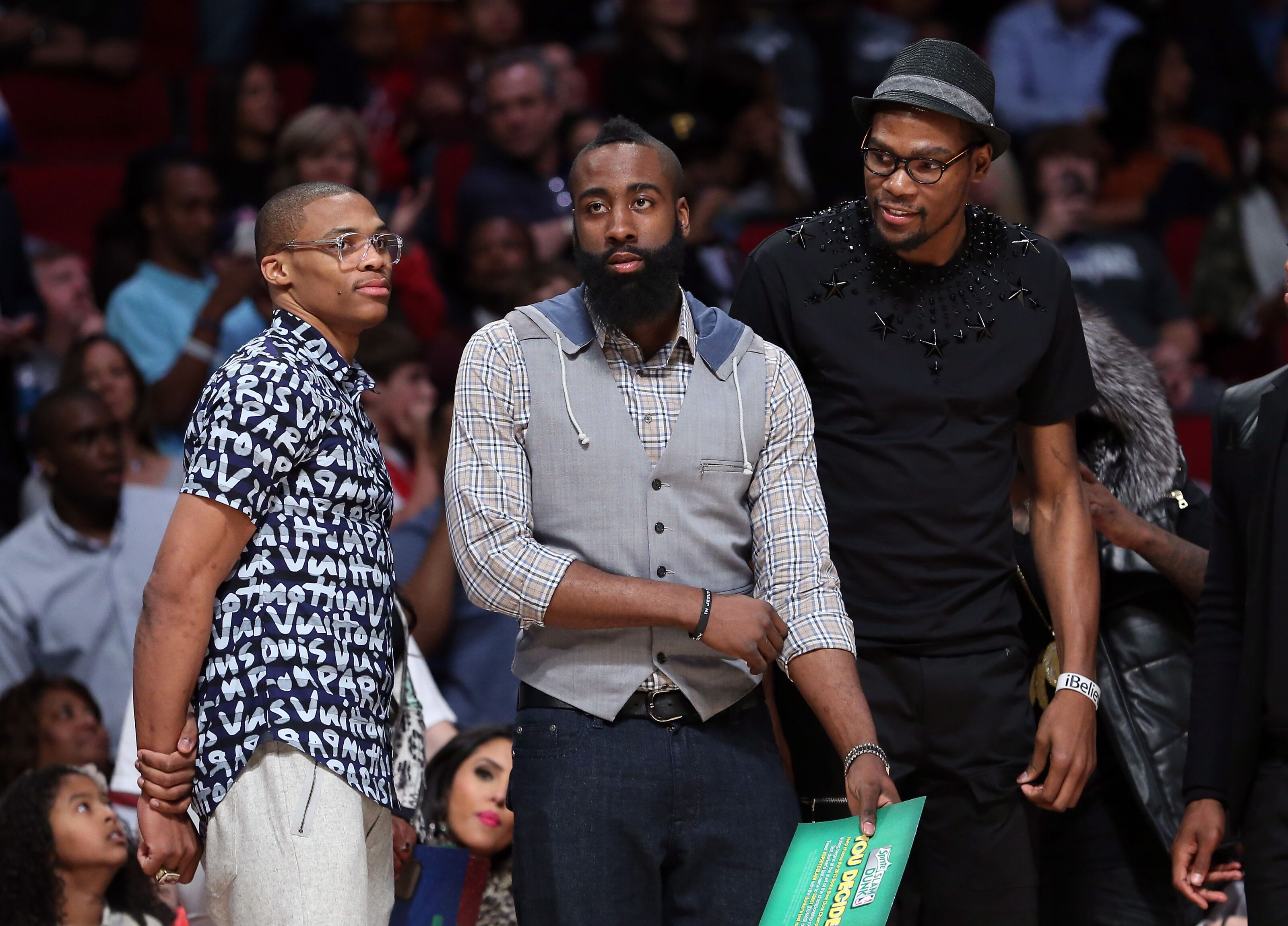 Former and current OKC Thunder players Westbrook, Durant, Harden and Paul on 2010's All-NBA Teams