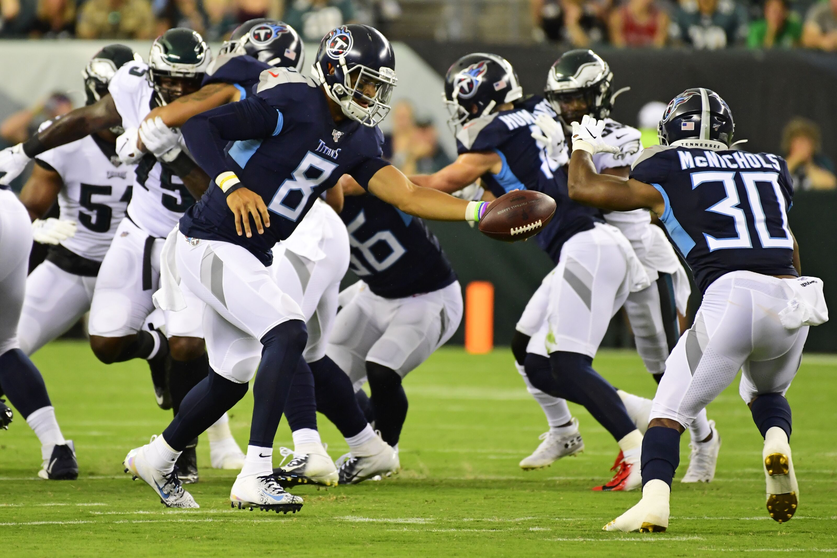 13a7a0c8 Tennessee Titans: Jeremy McNichols scores TD with sick flip into end ...