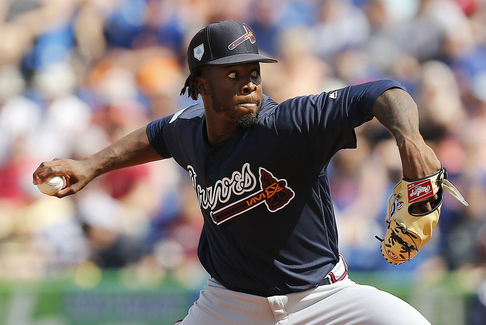 quality design fd2af 12521 LUCIE, FLORIDA – FEBRUARY 23  Touki Toussaint  62 of the Atlanta Braves  delivers a pitch in the first inning against the New York Mets during the  Grapefruit ...
