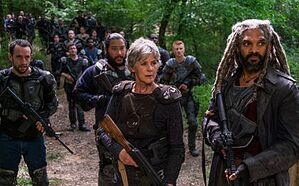 Alvaro (Carlos Navarro), Jerry (Cooper Andrews), Carol Peletier (Melissa McBride) and Ezekiel (Khary Payton) in The Walking Dead Season 8 Episode 2 Photo by Gene Page/AMC
